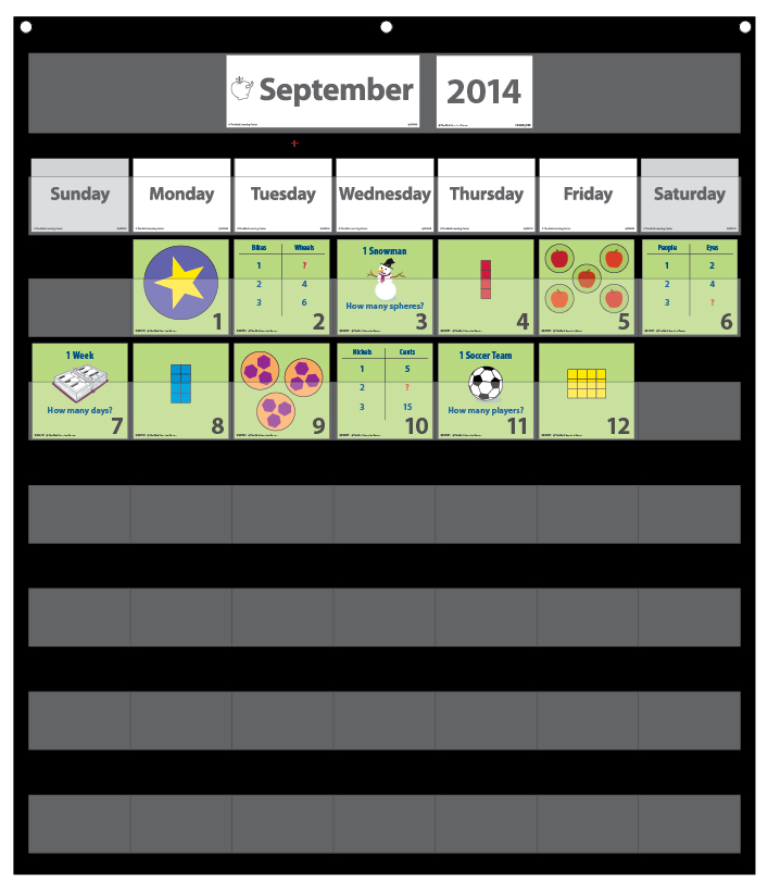 Number Corner Calendar Markers – September