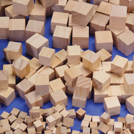 Wood Cubes 34 Inch Qty 100