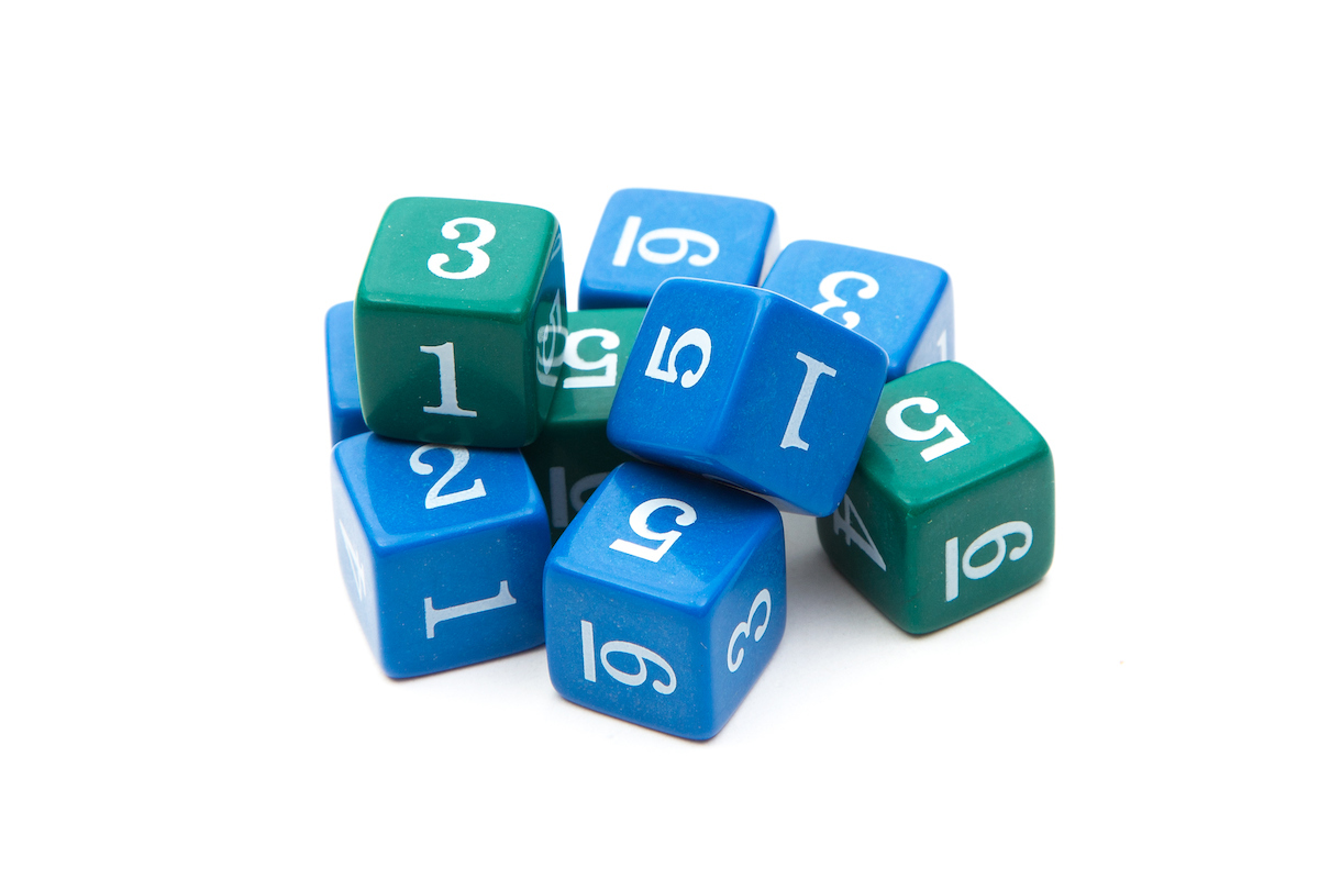 Numbered Dice, 1 - 6 (qty 9)