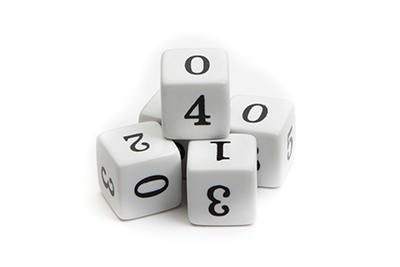 Numbered Dice, 0 - 5, (qty 5)